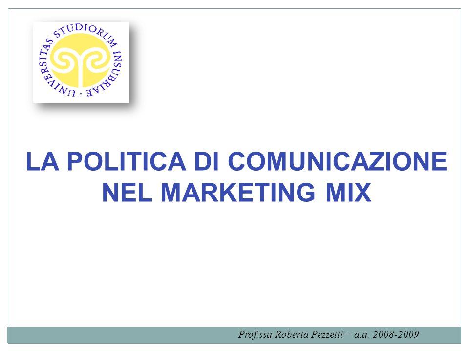 LA POLITICA DI COMUNICAZIONE NEL MARKETING MIX Prof.ssa Roberta Pezzetti – a.a. 2008-2009