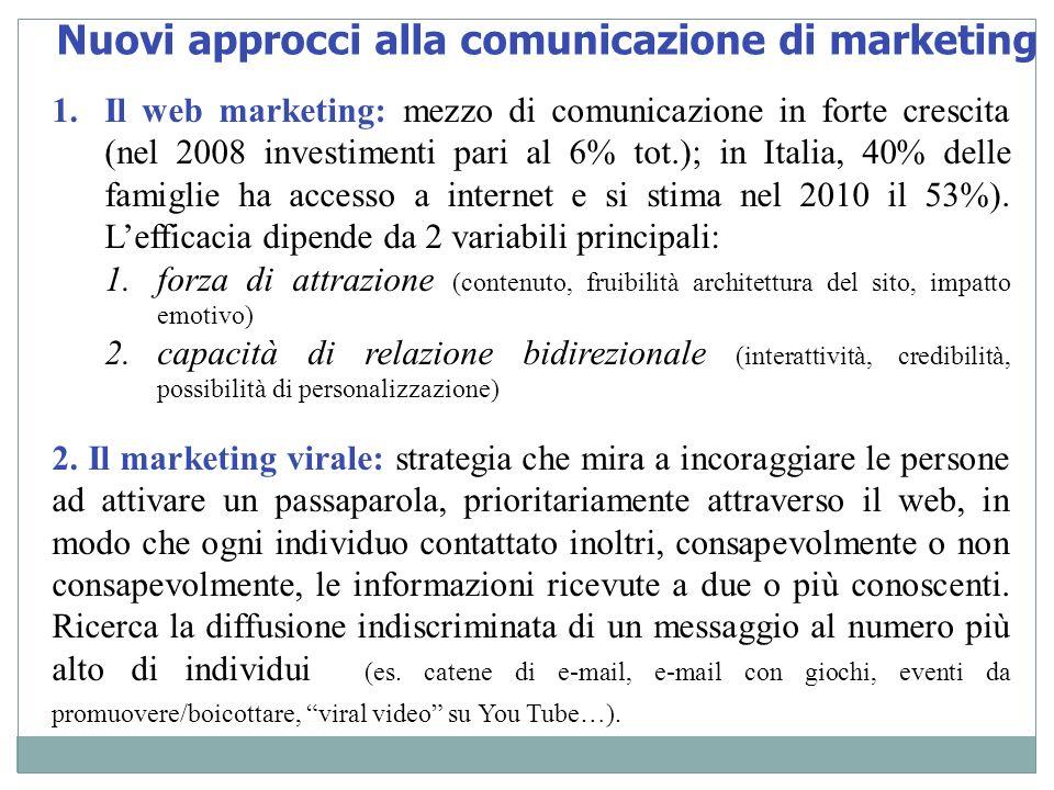 Nuovi approcci alla comunicazione di marketing 1.Il web marketing: mezzo di comunicazione in forte crescita (nel 2008 investimenti pari al 6% tot.); i