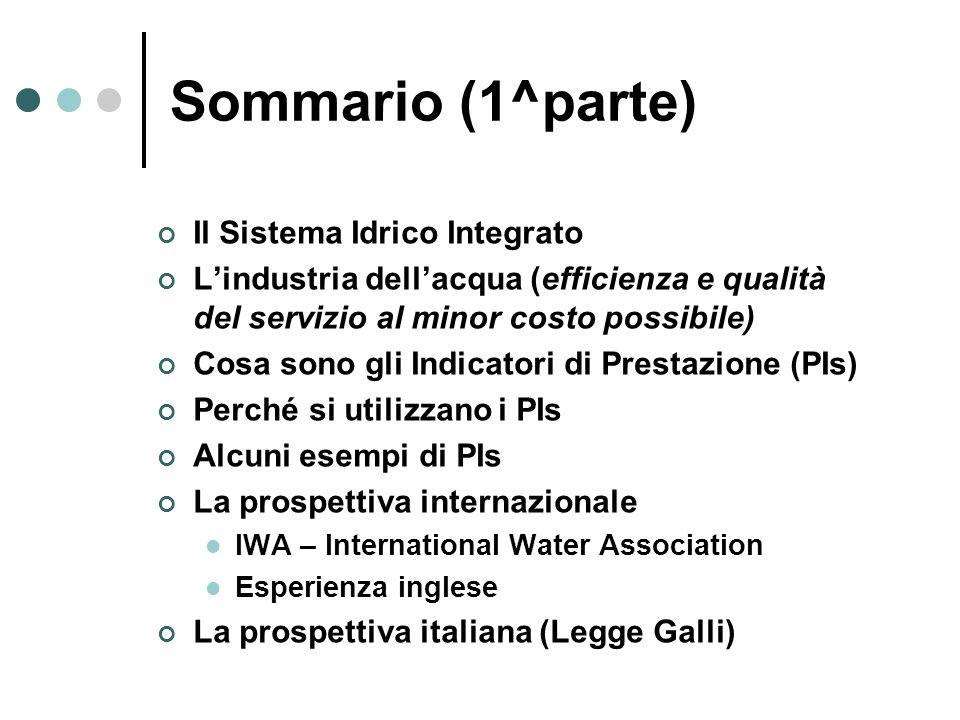 Sommario (1^parte) Il Sistema Idrico Integrato Lindustria dellacqua (efficienza e qualità del servizio al minor costo possibile) Cosa sono gli Indicat