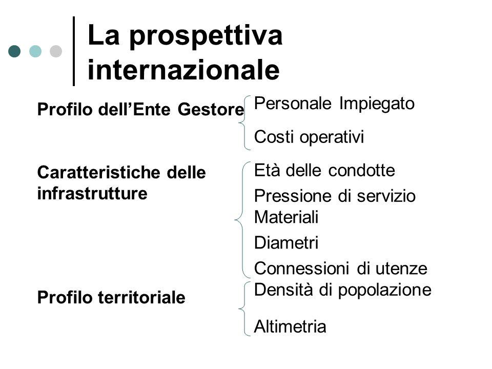 La prospettiva internazionale Profilo dellEnte Gestore Personale Impiegato Costi operativi Caratteristiche delle infrastrutture Età delle condotte Pre