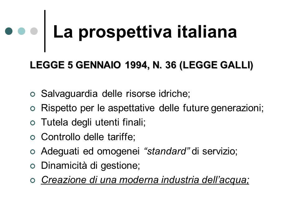 LEGGE 5 GENNAIO 1994, N. 36 (LEGGE GALLI) Salvaguardia delle risorse idriche; Rispetto per le aspettative delle future generazioni; Tutela degli utent
