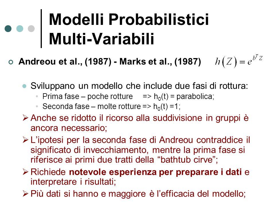 Modelli Probabilistici Multi-Variabili Andreou et al., (1987) - Marks et al., (1987) Sviluppano un modello che include due fasi di rottura: Prima fase