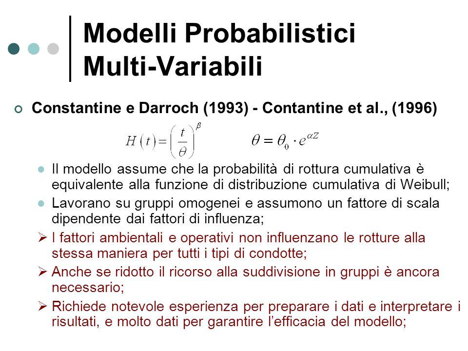 Modelli Probabilistici Multi-Variabili Constantine e Darroch (1993) - Contantine et al., (1996) Il modello assume che la probabilità di rottura cumula