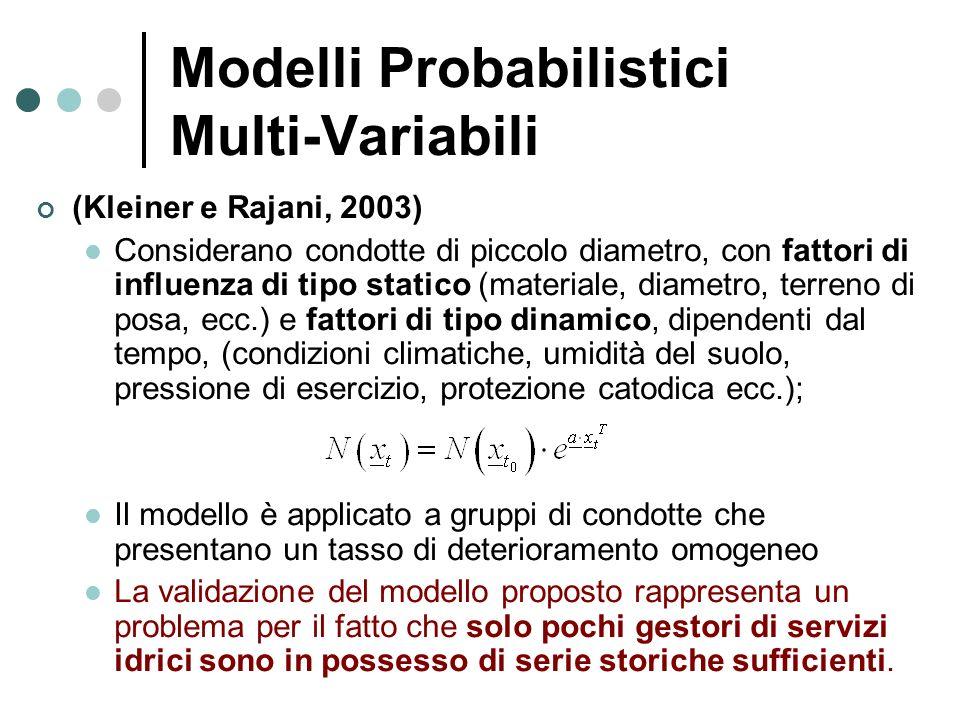 Modelli Probabilistici Multi-Variabili (Kleiner e Rajani, 2003) Considerano condotte di piccolo diametro, con fattori di influenza di tipo statico (ma