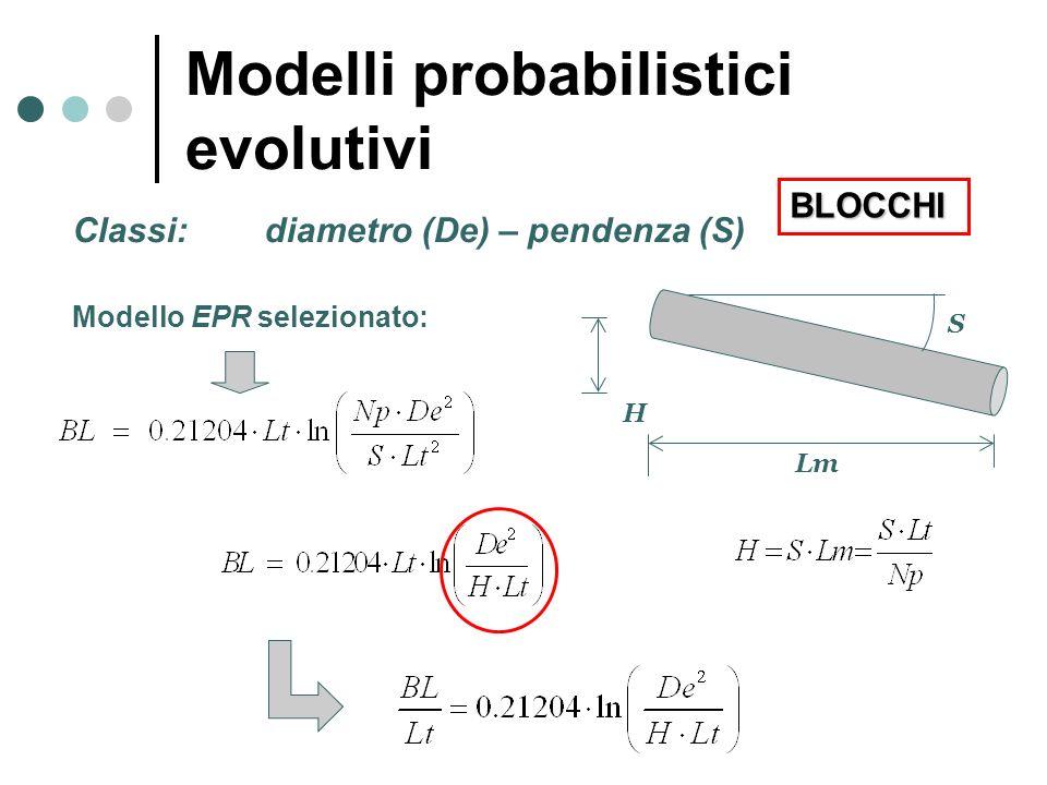 Classi: diametro (De) – pendenza (S) Modello EPR selezionato: S Lm H Modelli probabilistici evolutivi BLOCCHI