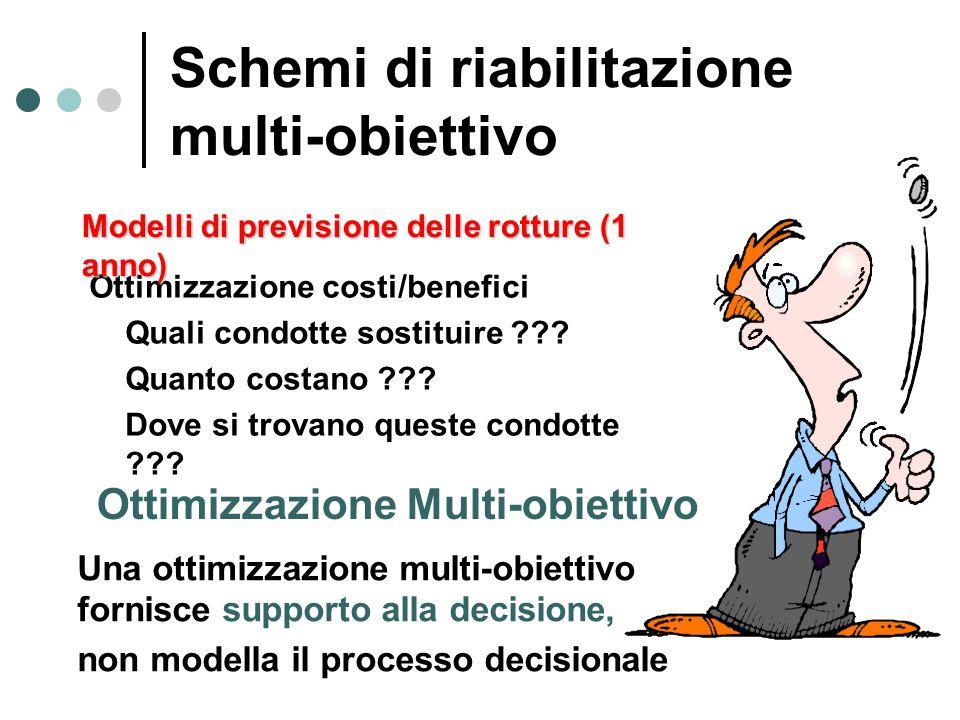 Una ottimizzazione multi-obiettivo fornisce supporto alla decisione, non modella il processo decisionale Ottimizzazione costi/benefici Quali condotte