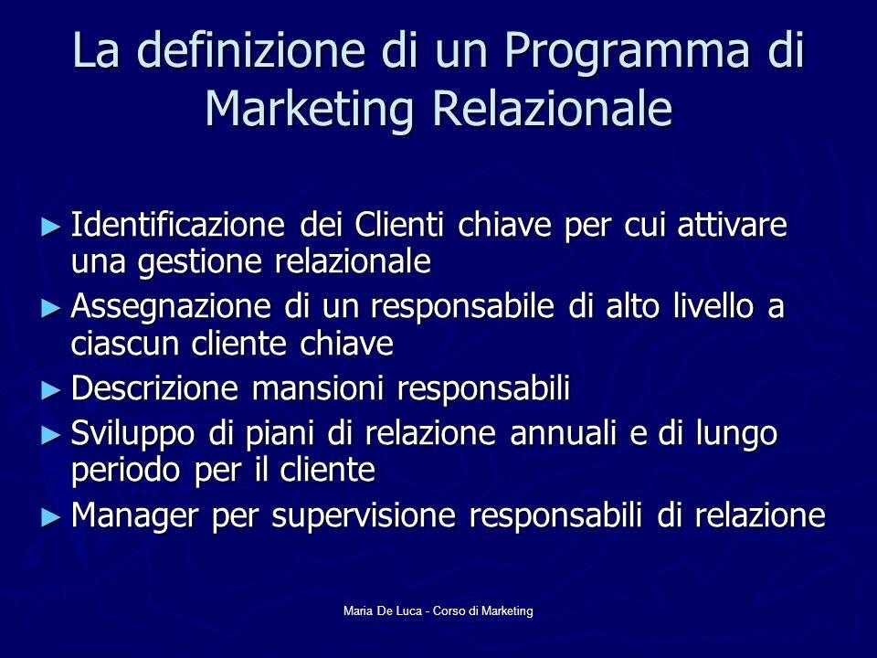 Maria De Luca - Corso di Marketing La definizione di un Programma di Marketing Relazionale Identificazione dei Clienti chiave per cui attivare una ges