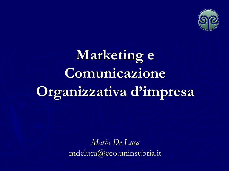 Marketing e Comunicazione Organizzativa dimpresa Maria De Luca mdeluca@eco.uninsubria.it