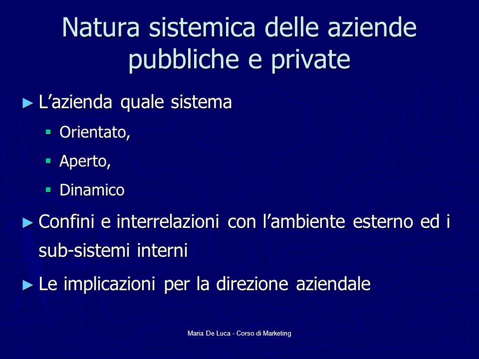 Maria De Luca - Corso di Marketing Natura sistemica delle aziende pubbliche e private Lazienda quale sistema Lazienda quale sistema Orientato, Orienta