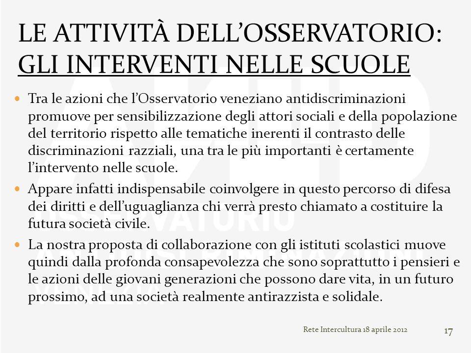 Rete Intercultura 18 aprile 2012 17 Tra le azioni che lOsservatorio veneziano antidiscriminazioni promuove per sensibilizzazione degli attori sociali