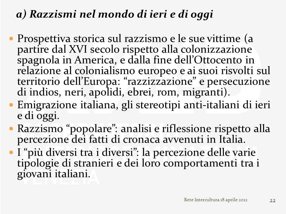 Rete Intercultura 18 aprile 2012 22 a) Razzismi nel mondo di ieri e di oggi Prospettiva storica sul razzismo e le sue vittime (a partire dal XVI secol