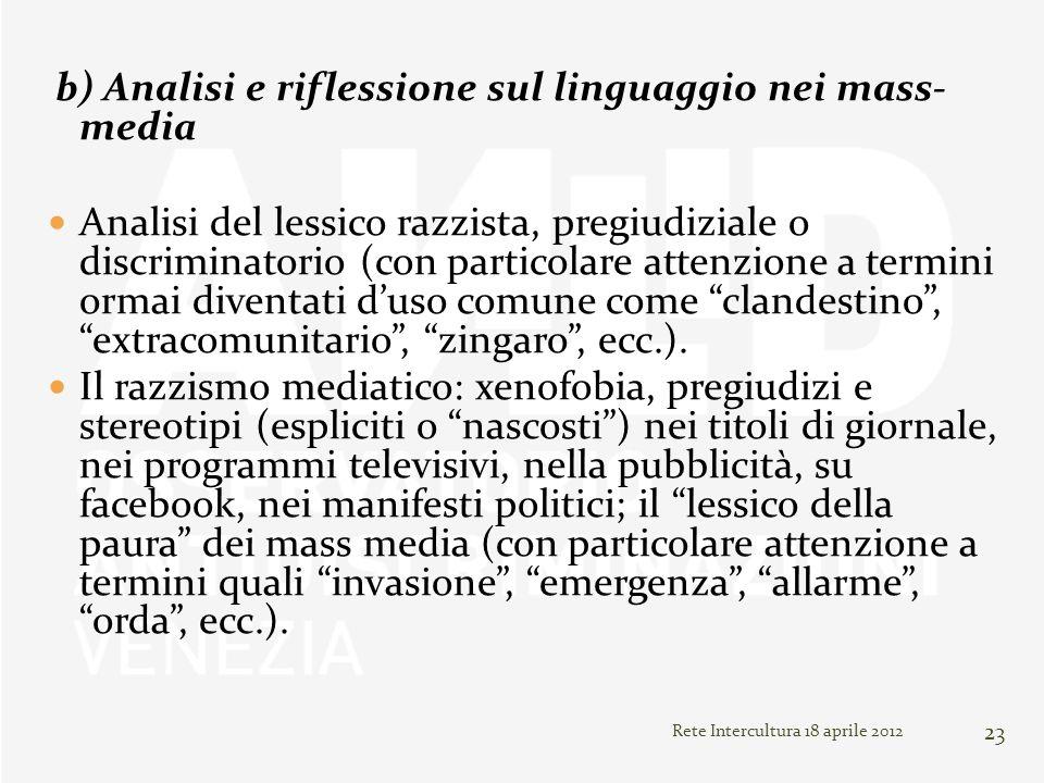 Rete Intercultura 18 aprile 2012 23 b) Analisi e riflessione sul linguaggio nei mass- media Analisi del lessico razzista, pregiudiziale o discriminato