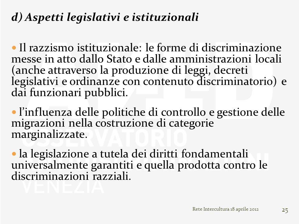 Rete Intercultura 18 aprile 2012 25 d) Aspetti legislativi e istituzionali Il razzismo istituzionale: le forme di discriminazione messe in atto dallo