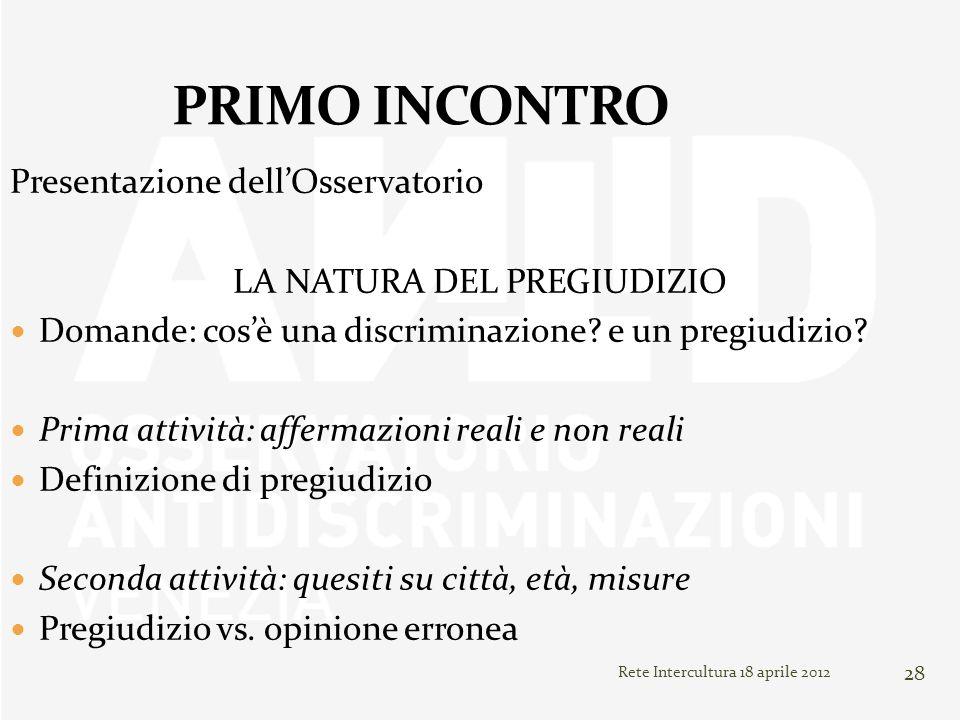 Rete Intercultura 18 aprile 2012 28 Presentazione dellOsservatorio LA NATURA DEL PREGIUDIZIO Domande: cosè una discriminazione? e un pregiudizio? Prim