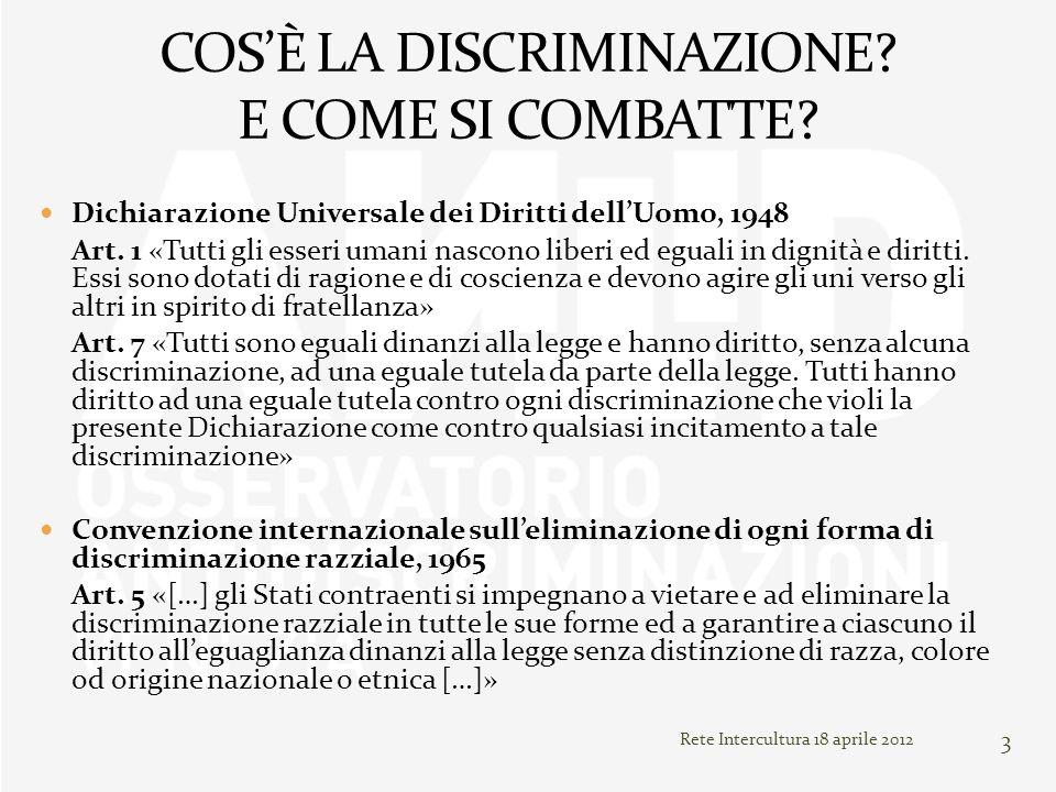 3 Dichiarazione Universale dei Diritti dellUomo, 1948 Art. 1 «Tutti gli esseri umani nascono liberi ed eguali in dignità e diritti. Essi sono dotati d