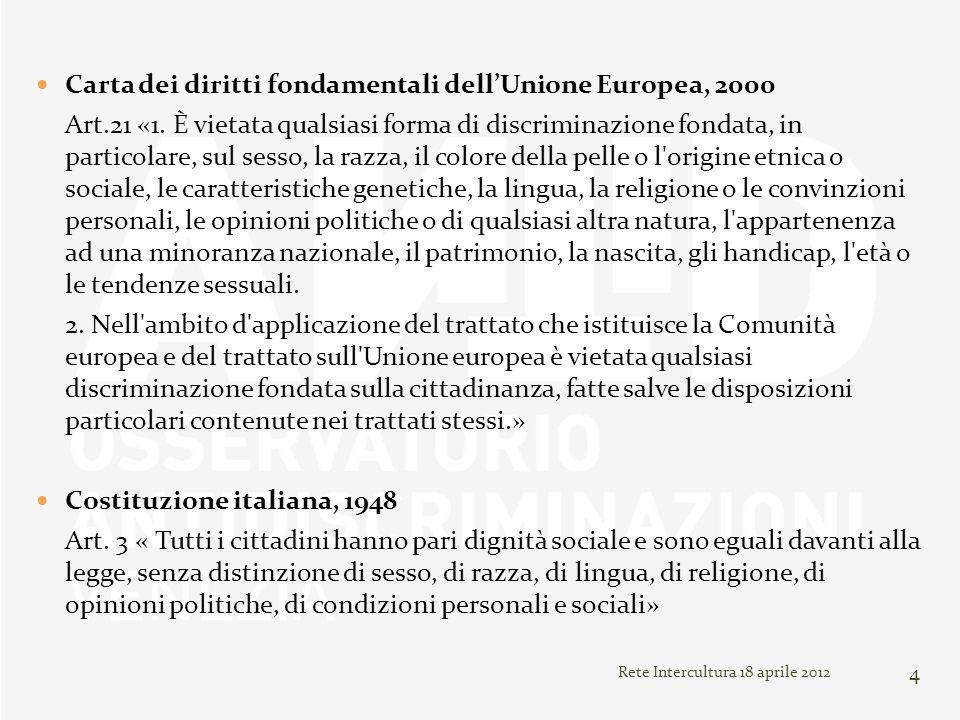Carta dei diritti fondamentali dellUnione Europea, 2000 Art.21 «1. È vietata qualsiasi forma di discriminazione fondata, in particolare, sul sesso, la