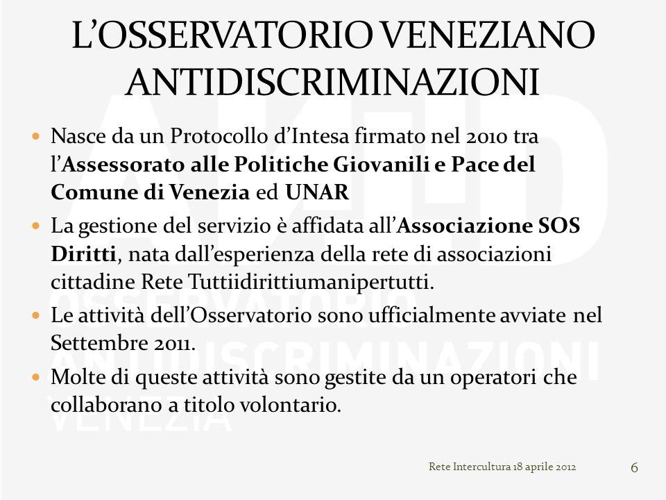 Rete Intercultura 18 aprile 2012 6 Nasce da un Protocollo dIntesa firmato nel 2010 tra lAssessorato alle Politiche Giovanili e Pace del Comune di Vene