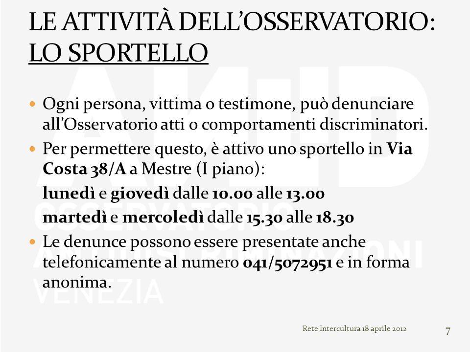 Rete Intercultura 18 aprile 2012 7 Ogni persona, vittima o testimone, può denunciare allOsservatorio atti o comportamenti discriminatori. Per permette