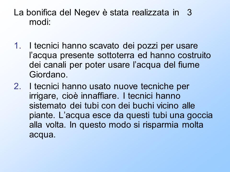 La bonifica del Negev è stata realizzata in 3 modi: 1.I tecnici hanno scavato dei pozzi per usare lacqua presente sottoterra ed hanno costruito dei ca