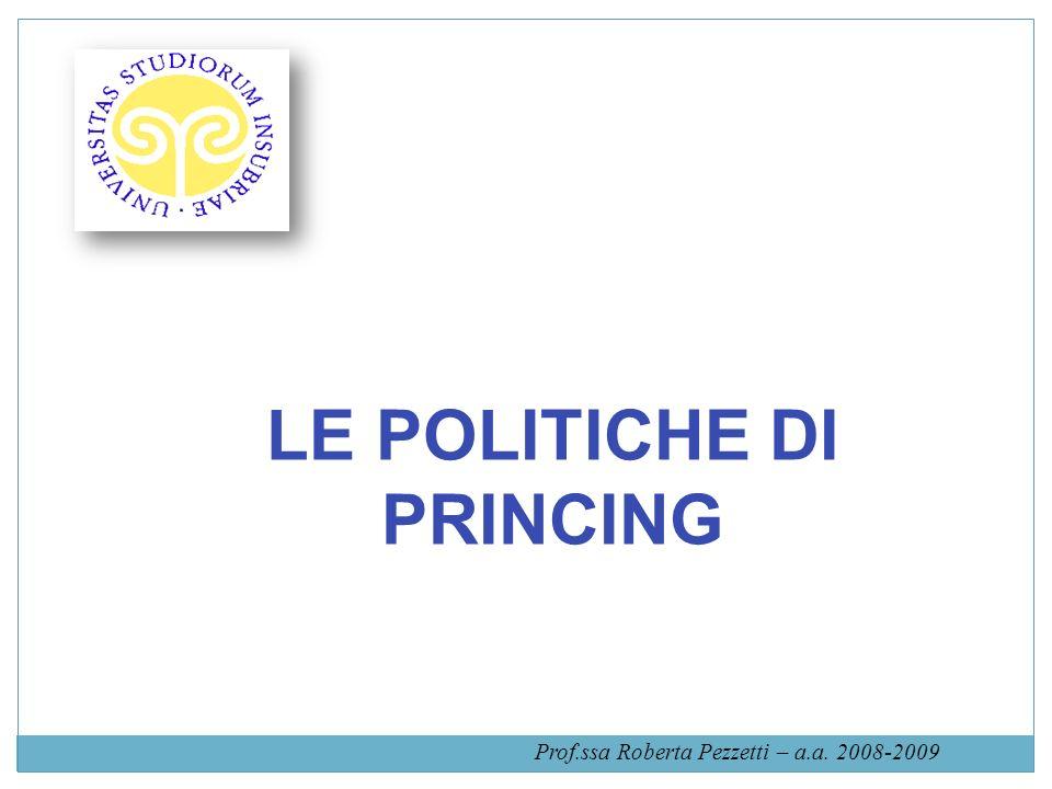 LE POLITICHE DI PRINCING Prof.ssa Roberta Pezzetti – a.a. 2008-2009
