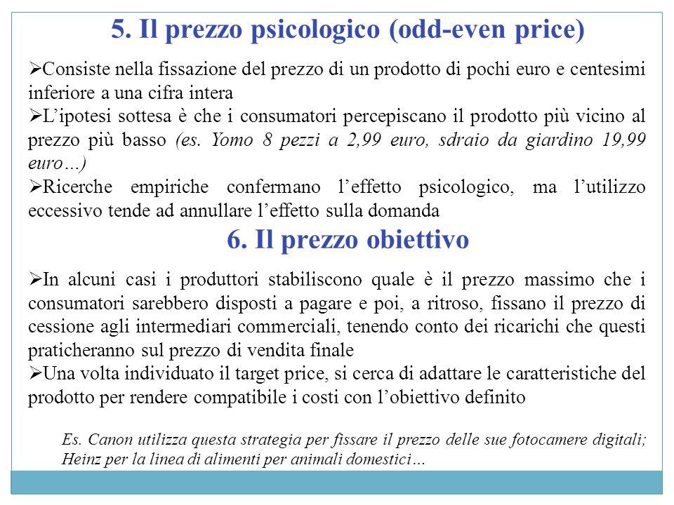 5. Il prezzo psicologico (odd-even price) Consiste nella fissazione del prezzo di un prodotto di pochi euro e centesimi inferiore a una cifra intera L