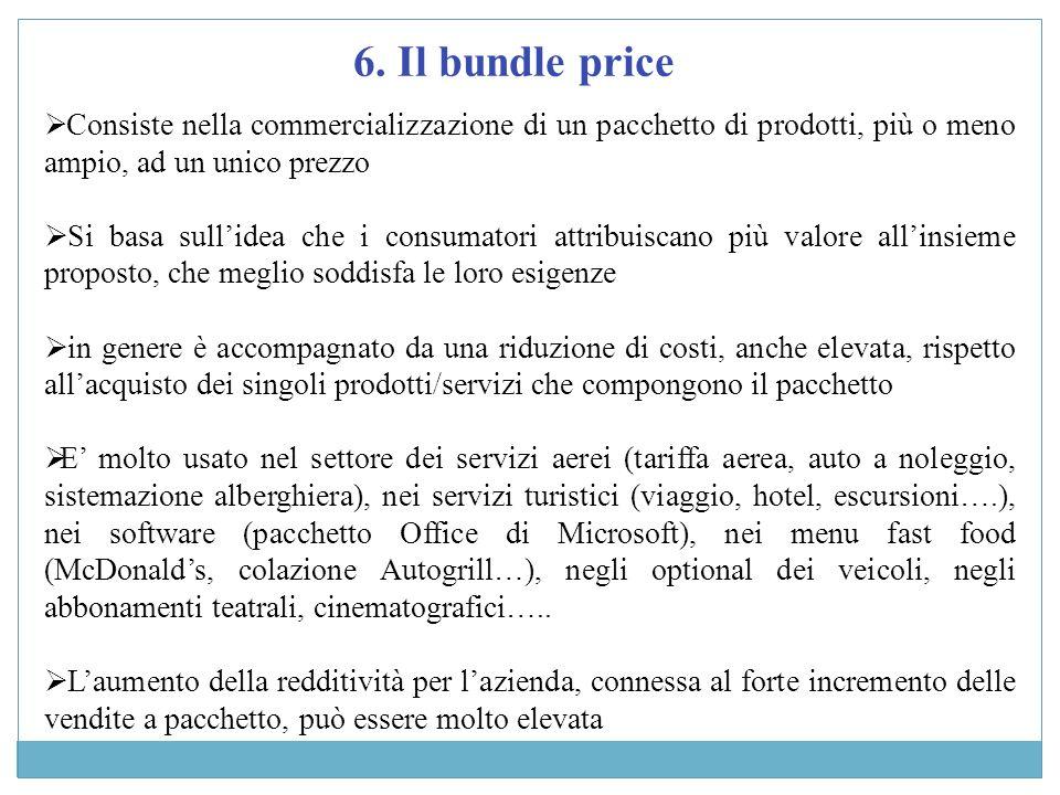 6. Il bundle price Consiste nella commercializzazione di un pacchetto di prodotti, più o meno ampio, ad un unico prezzo Si basa sullidea che i consuma