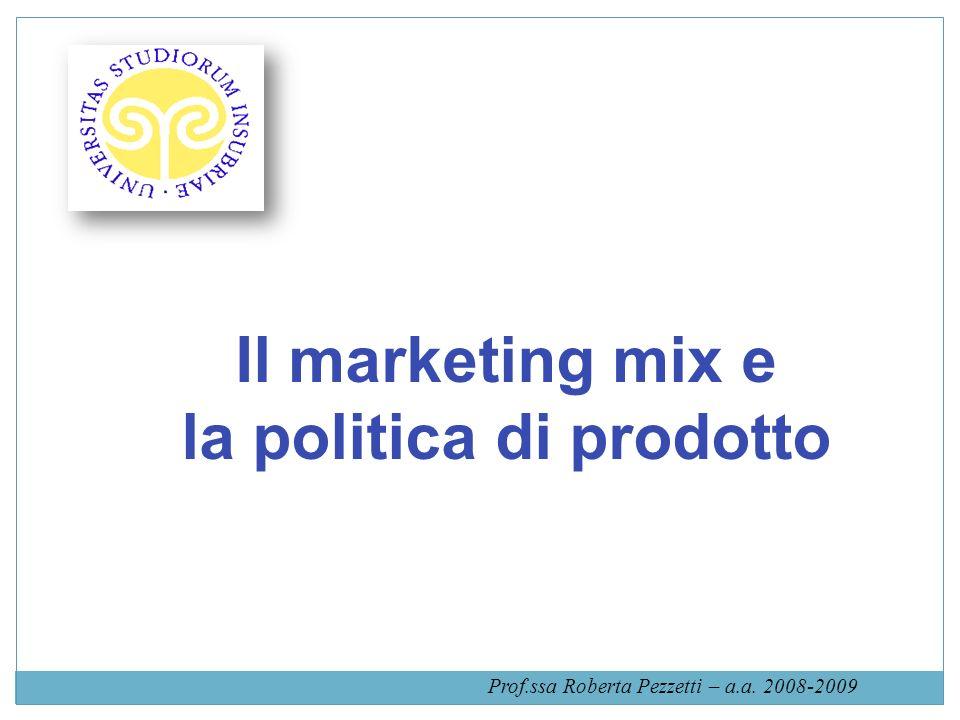 Il marketing mix e la politica di prodotto Prof.ssa Roberta Pezzetti – a.a. 2008-2009
