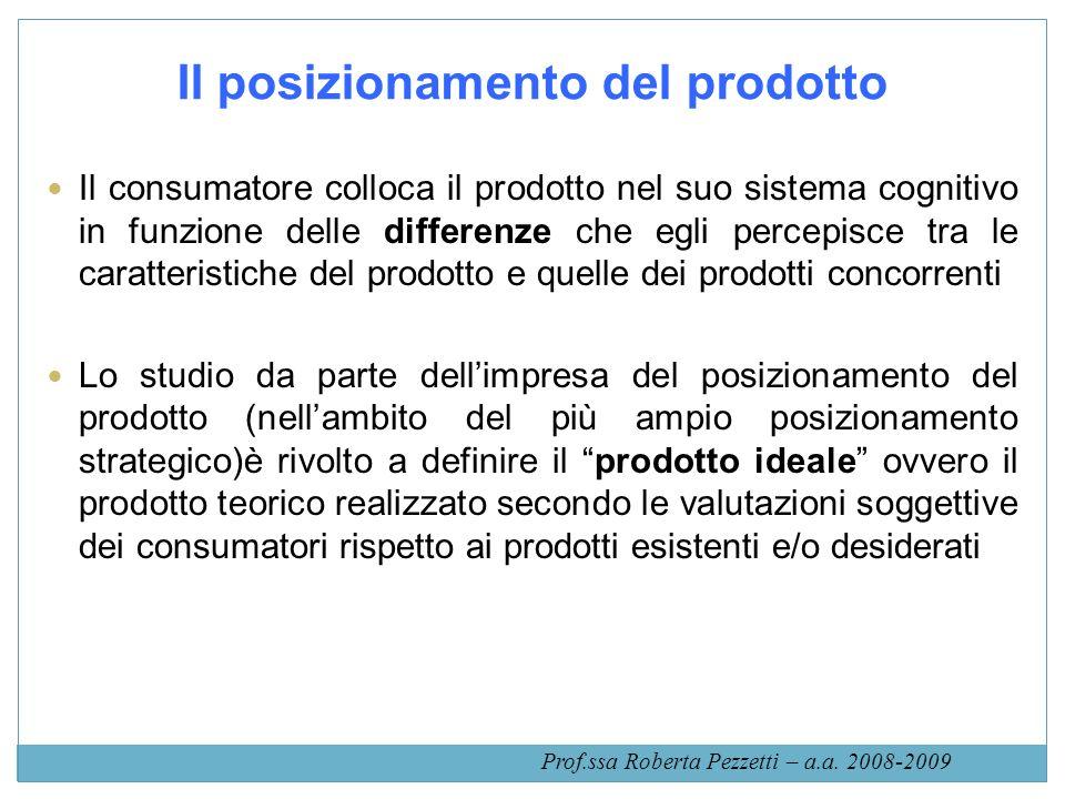 Il posizionamento del prodotto Il consumatore colloca il prodotto nel suo sistema cognitivo in funzione delle differenze che egli percepisce tra le ca