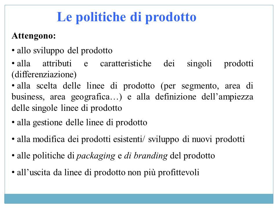 Attengono: allo sviluppo del prodotto alla attributi e caratteristiche dei singoli prodotti (differenziazione) alla scelta delle linee di prodotto (pe