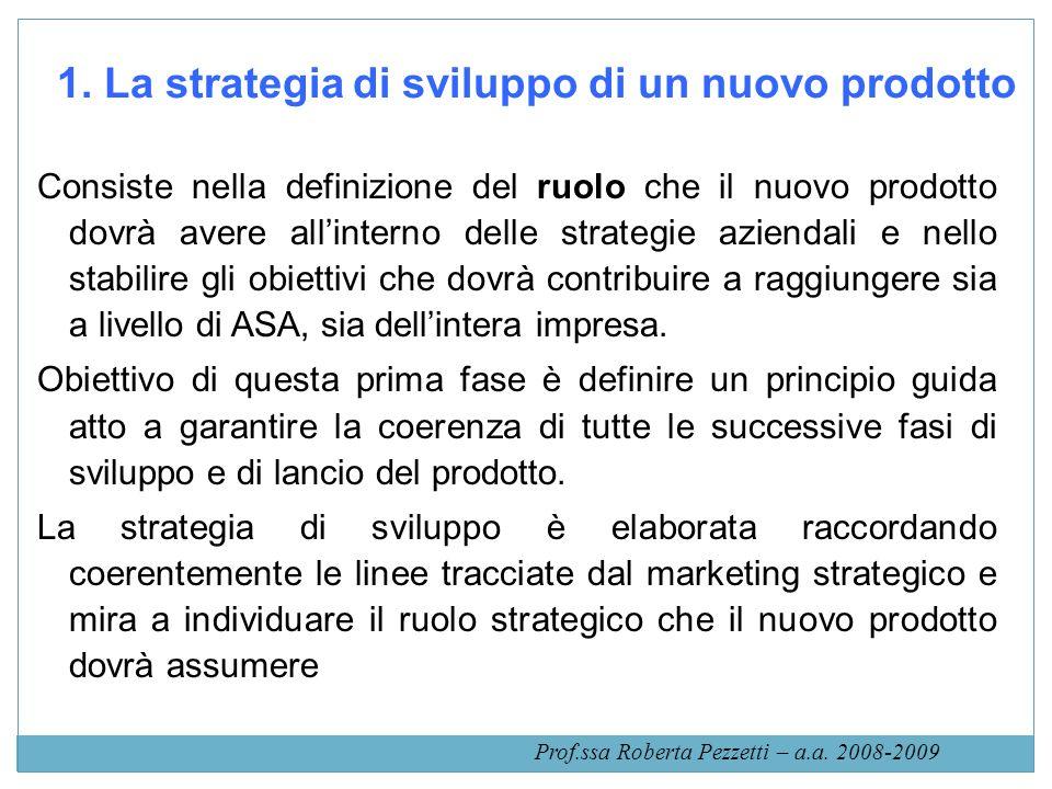 1. La strategia di sviluppo di un nuovo prodotto Consiste nella definizione del ruolo che il nuovo prodotto dovrà avere allinterno delle strategie azi