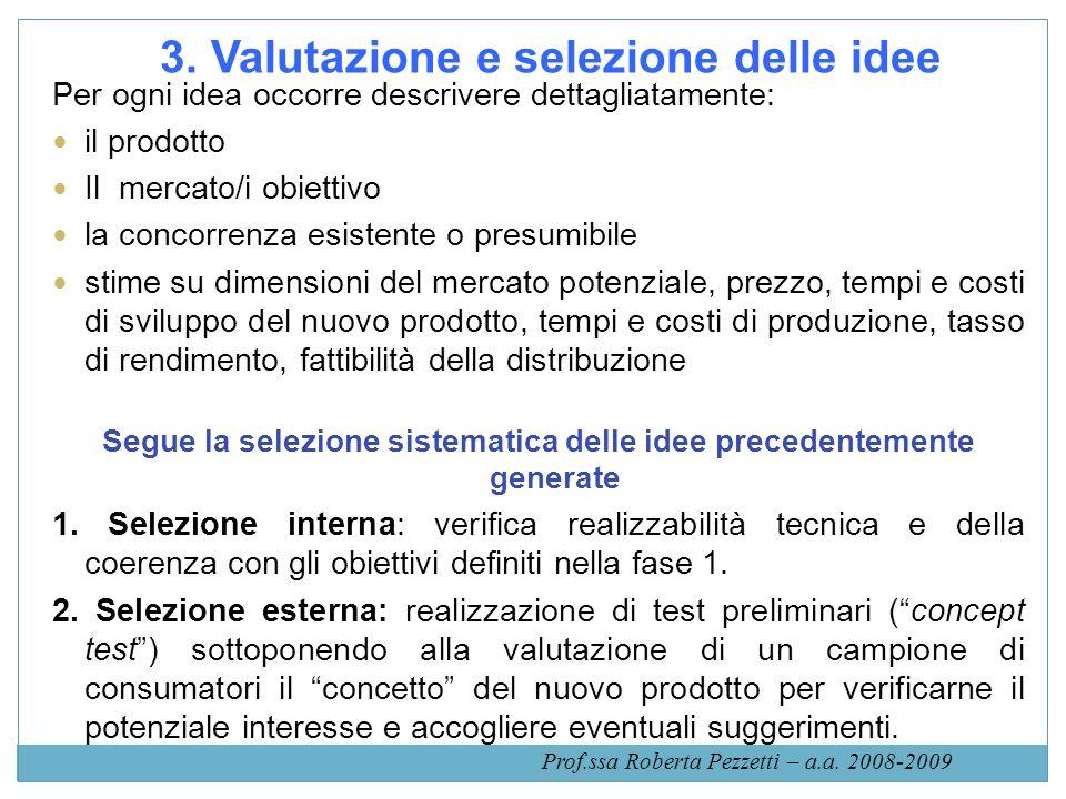 3. Valutazione e selezione delle idee Per ogni idea occorre descrivere dettagliatamente: il prodotto Il mercato/i obiettivo la concorrenza esistente o