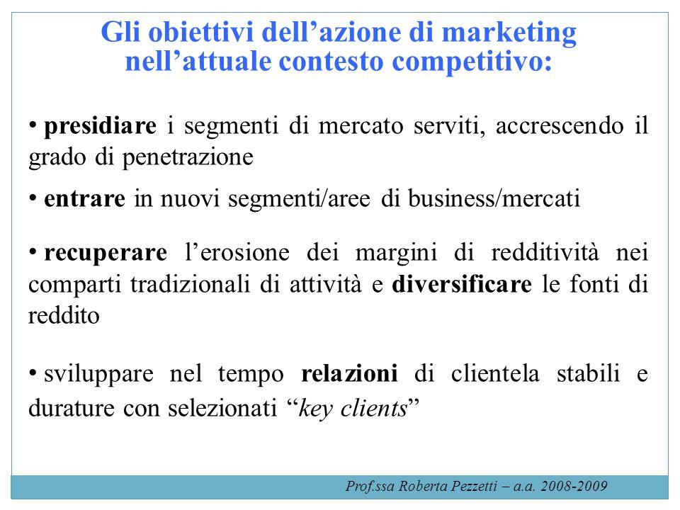 Gli obiettivi dellazione di marketing nellattuale contesto competitivo: presidiare i segmenti di mercato serviti, accrescendo il grado di penetrazione