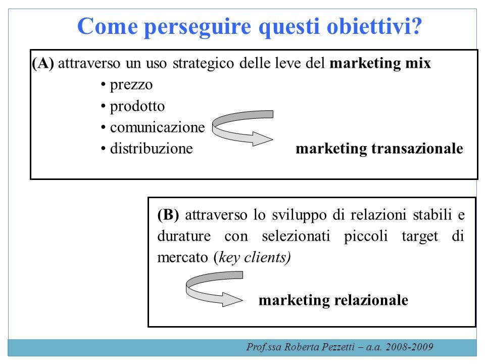 Come perseguire questi obiettivi? (A) attraverso un uso strategico delle leve del marketing mix prezzo prodotto comunicazione distribuzione marketing