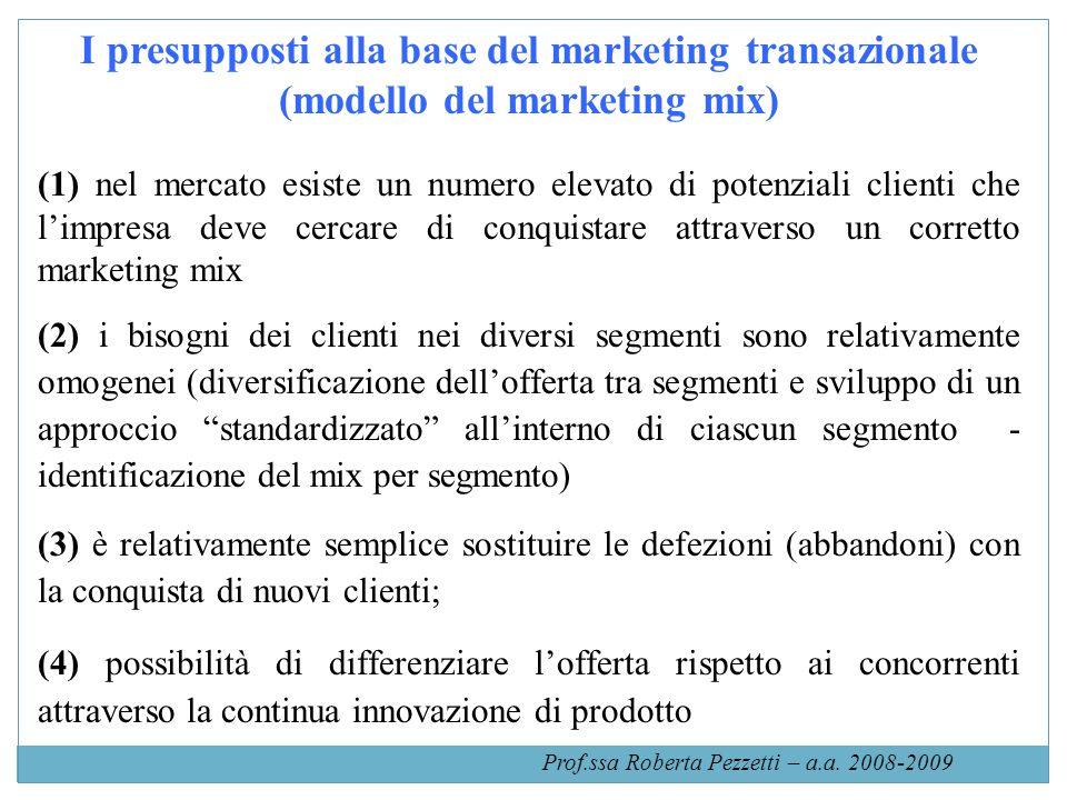 Il circuito del marketing mix (1) identificare i fabbisogni finanziari e le aspettative dei clienti (2) sviluppare unadeguata offerta di prodotti e servizi finanziari per rispondere alle esigenze della domanda (3) Pricing: determinare il prezzo per i prodotti/ servizi sviluppati (4) Pubblicità e promozione vs clienti attuali e potenziali (5) Distribuzione scelta dei canali (6) Valutazione efficacia del mix e nuove ricerche per determinare nuove esigenze Prof.ssa Roberta Pezzetti – a.a.