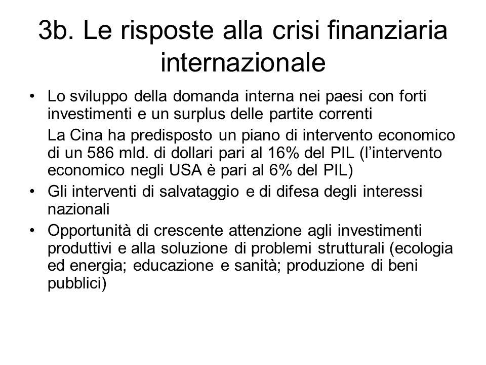 3b. Le risposte alla crisi finanziaria internazionale Lo sviluppo della domanda interna nei paesi con forti investimenti e un surplus delle partite co