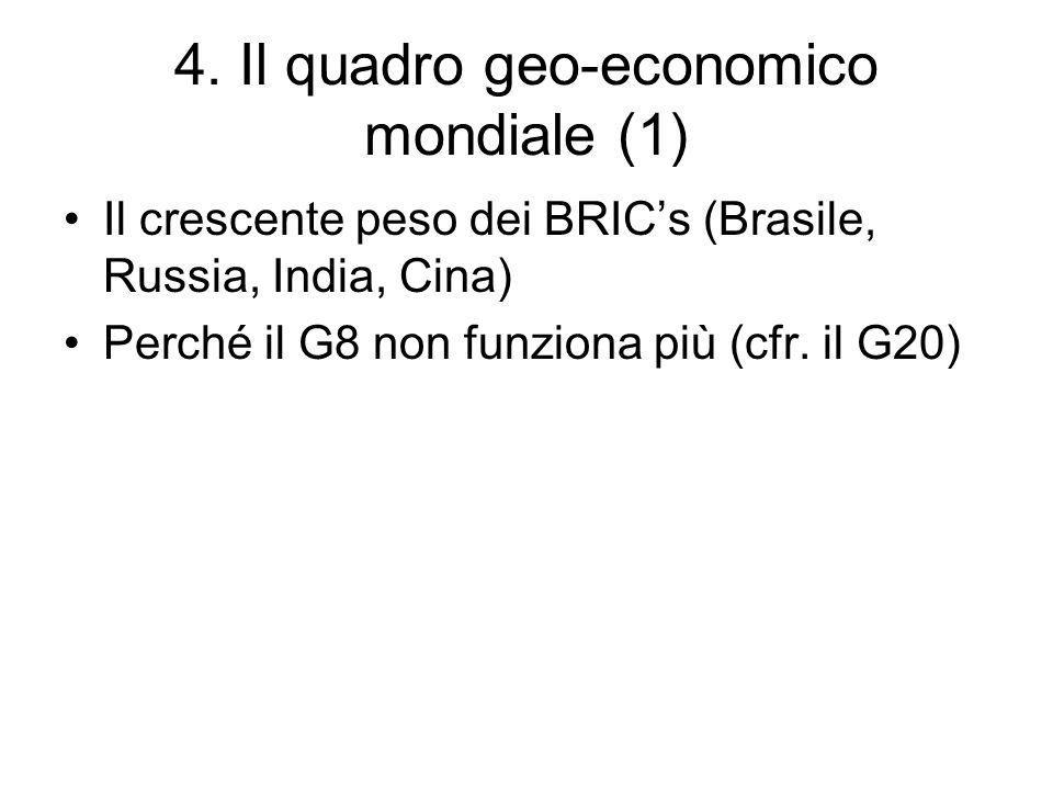 4. Il quadro geo-economico mondiale (1) Il crescente peso dei BRICs (Brasile, Russia, India, Cina) Perché il G8 non funziona più (cfr. il G20)