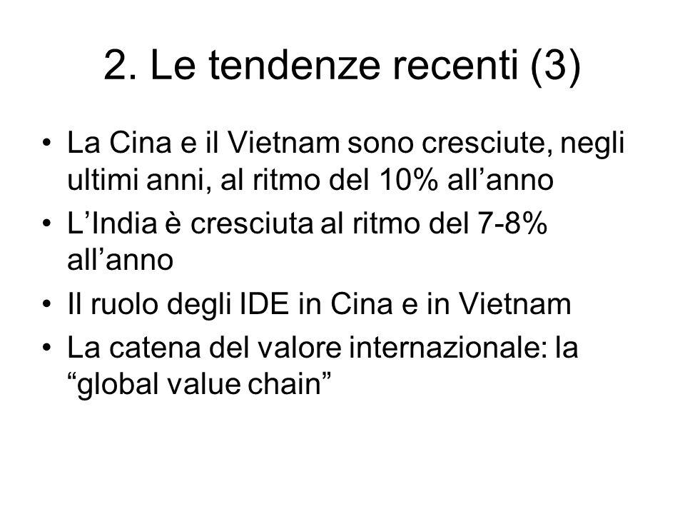 2. Le tendenze recenti (3) La Cina e il Vietnam sono cresciute, negli ultimi anni, al ritmo del 10% allanno LIndia è cresciuta al ritmo del 7-8% allan