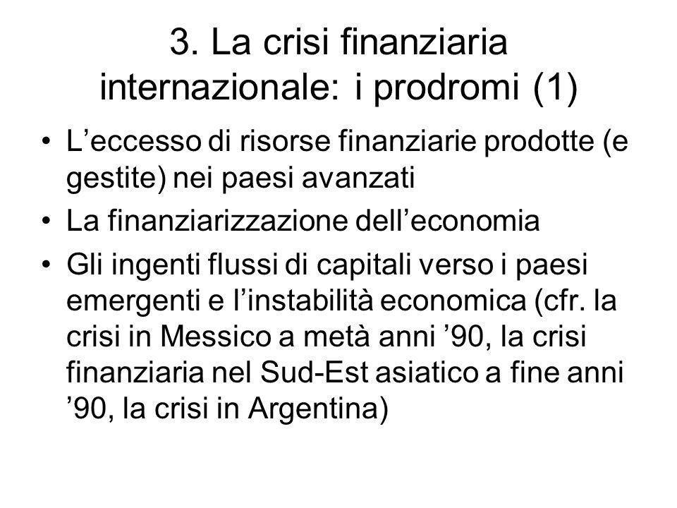 3. La crisi finanziaria internazionale: i prodromi (1) Leccesso di risorse finanziarie prodotte (e gestite) nei paesi avanzati La finanziarizzazione d