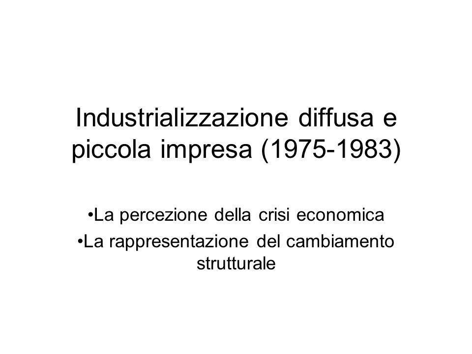 Industrializzazione diffusa e piccola impresa (1975-1983) La percezione della crisi economica La rappresentazione del cambiamento strutturale