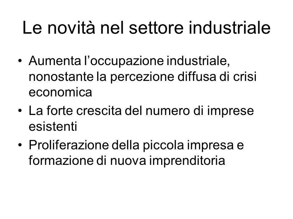 Le novità nel settore industriale Aumenta loccupazione industriale, nonostante la percezione diffusa di crisi economica La forte crescita del numero d