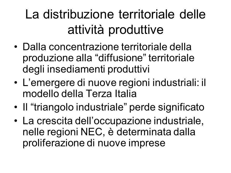 La distribuzione territoriale delle attività produttive Dalla concentrazione territoriale della produzione alla diffusione territoriale degli insediam