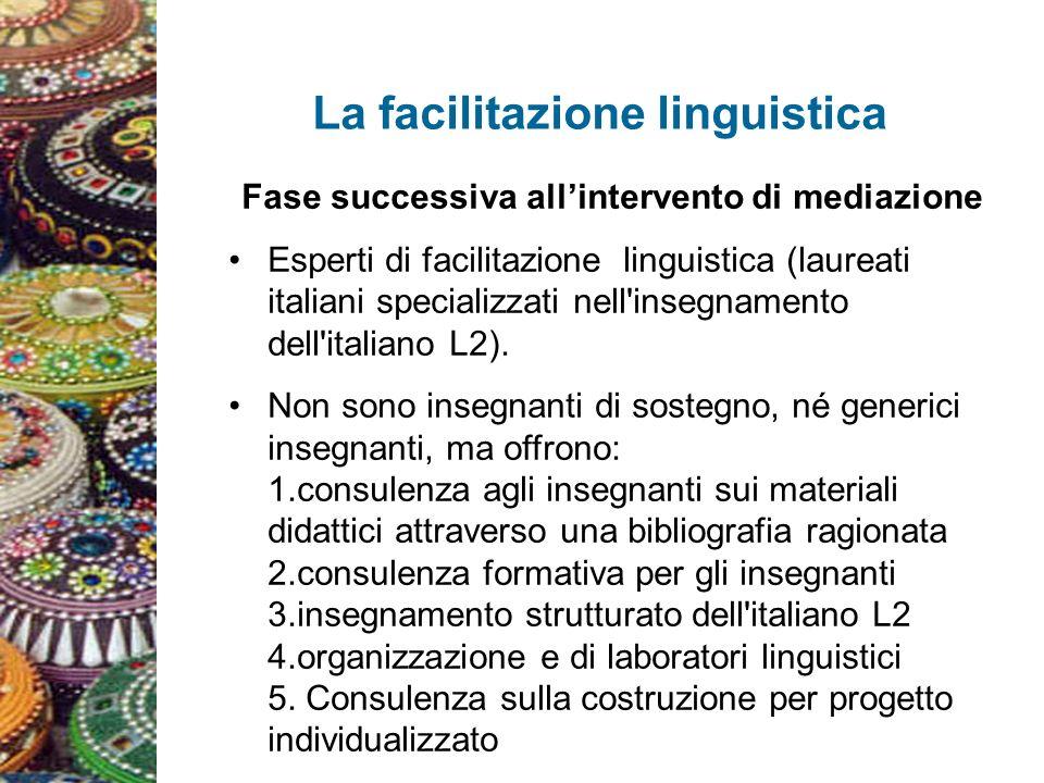 La facilitazione linguistica Fase successiva allintervento di mediazione Esperti di facilitazione linguistica (laureati italiani specializzati nell insegnamento dell italiano L2).