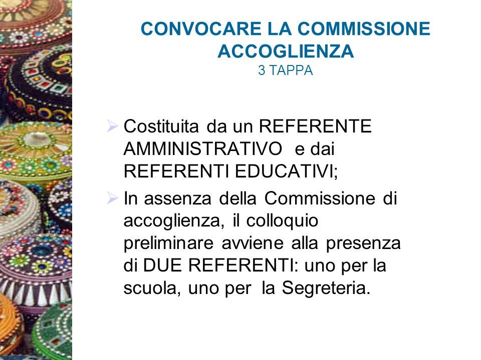 CONVOCARE LA COMMISSIONE ACCOGLIENZA 3 TAPPA Costituita da un REFERENTE AMMINISTRATIVO e dai REFERENTI EDUCATIVI; In assenza della Commissione di accoglienza, il colloquio preliminare avviene alla presenza di DUE REFERENTI: uno per la scuola, uno per la Segreteria.