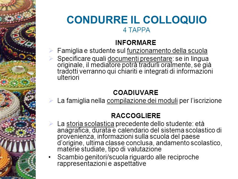 CONDURRE IL COLLOQUIO 4 TAPPA INFORMARE Famiglia e studente sul funzionamento della scuola Specificare quali documenti presentare: se in lingua origin