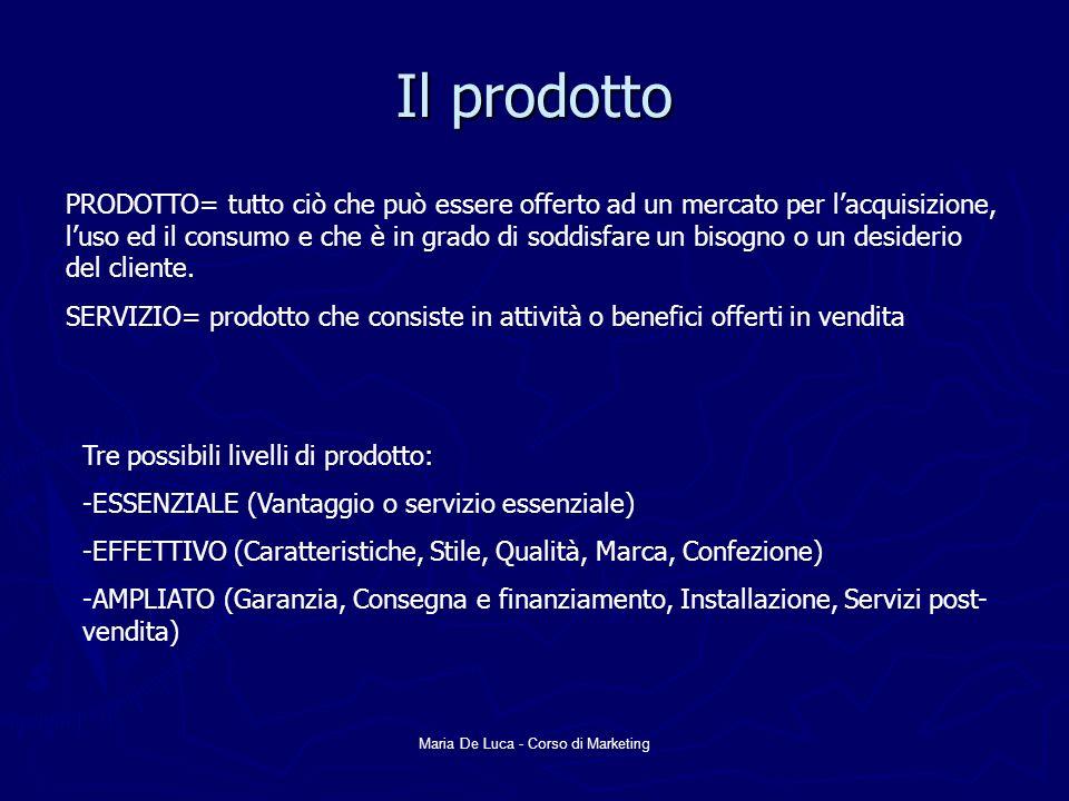 Maria De Luca - Corso di Marketing Il prodotto PRODOTTO= tutto ciò che può essere offerto ad un mercato per lacquisizione, luso ed il consumo e che è in grado di soddisfare un bisogno o un desiderio del cliente.