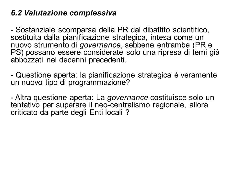 6.2 Valutazione complessiva - Sostanziale scomparsa della PR dal dibattito scientifico, sostituita dalla pianificazione strategica, intesa come un nuo