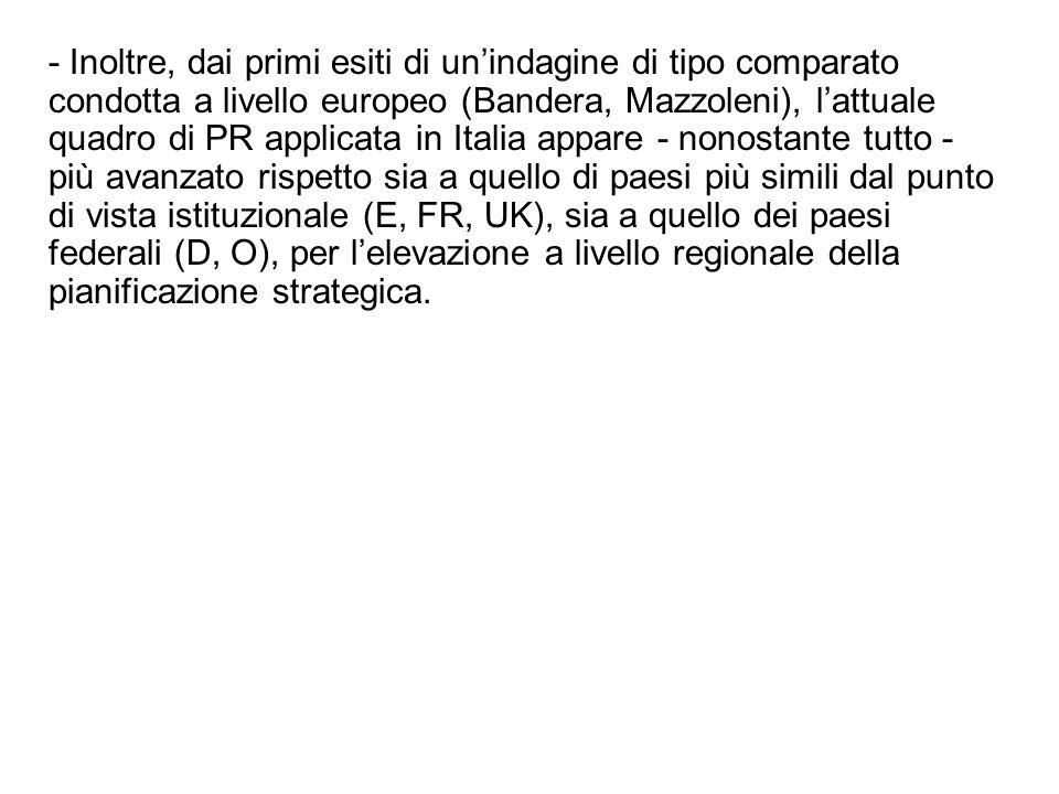 - Inoltre, dai primi esiti di unindagine di tipo comparato condotta a livello europeo (Bandera, Mazzoleni), lattuale quadro di PR applicata in Italia