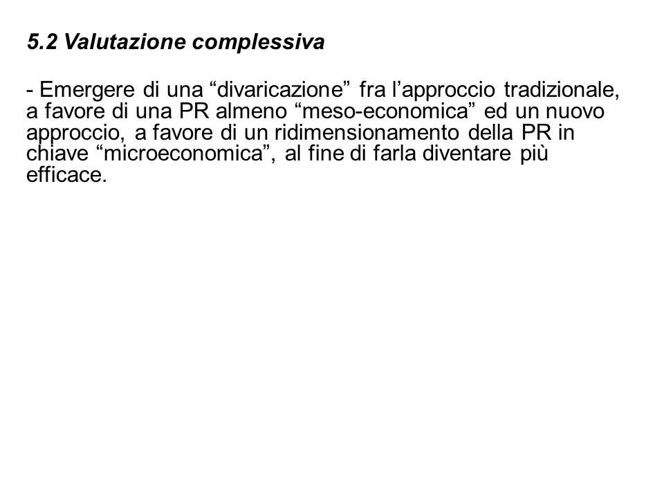 5.2 Valutazione complessiva - Emergere di una divaricazione fra lapproccio tradizionale, a favore di una PR almeno meso-economica ed un nuovo approcci