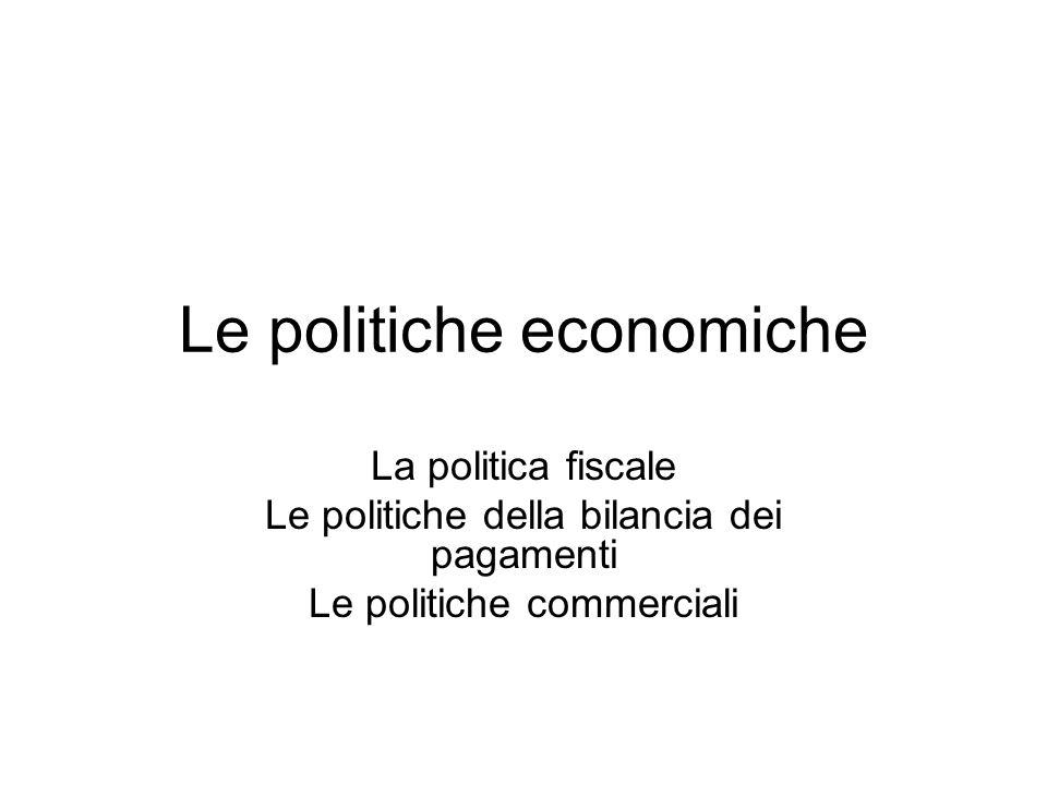 Le politiche economiche La politica fiscale Le politiche della bilancia dei pagamenti Le politiche commerciali
