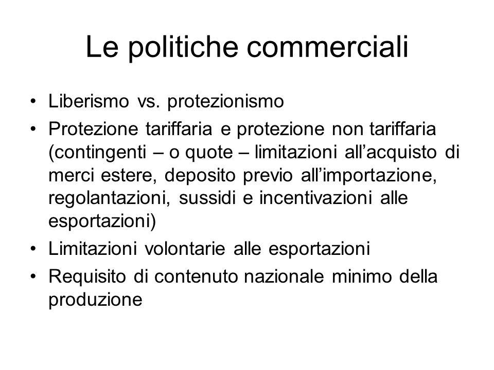 Le basi teoriche delle politiche commerciali Il fondamento del liberismo: la teoria dei costi comparati (Ricardo) Le giustificazioni del protezionismo: la difesa delle industrie nascenti (List)